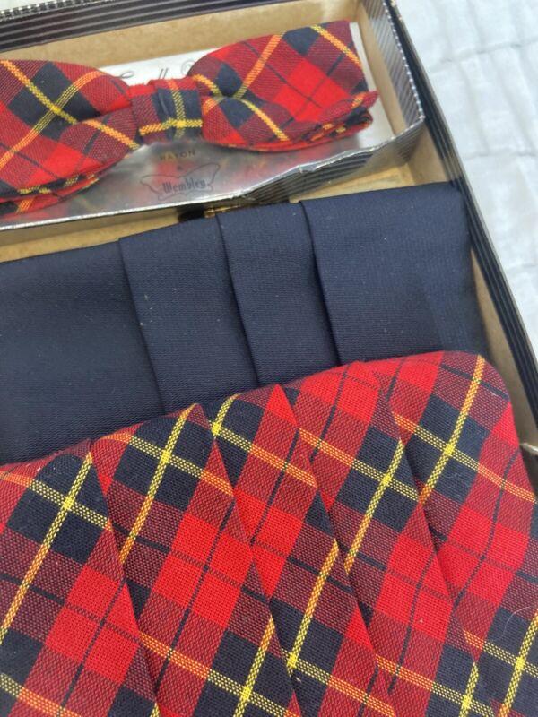 VINTAGE 80s  Cumber Bun & Bow Tie Set Red And Navy Plaid & Extra Navy Cumber Bun