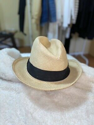 j.crew cream handmade genuine panama straw fedora hat size S/M
