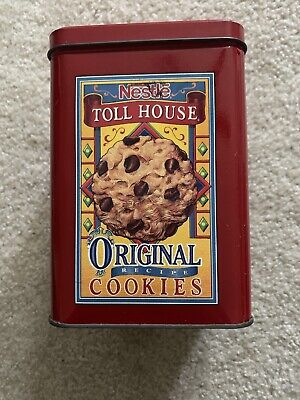 VINTAGE NESTLE TOLL HOUSE ORIGINAL COOKIES TIN RED CAN