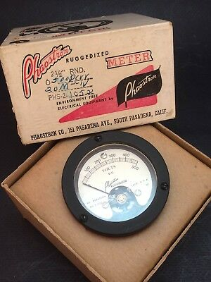 Phaostron Ruggedized Meter 0-500 Phs-2-1052 Nos Volts D.c. Panel Gauge