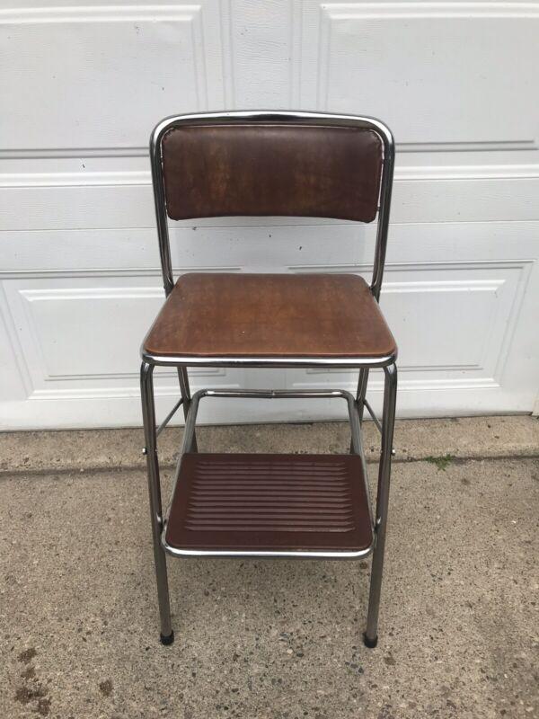VINTAGE FOLDING COSCO STEP STOOL / SEAT MID CENTURY MODERN KITCHEN Brown