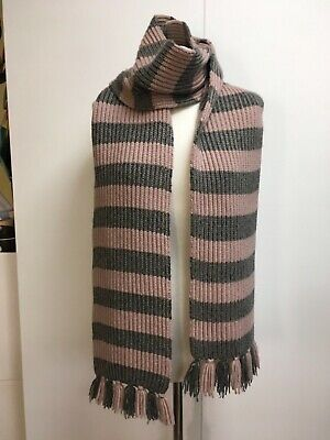 Burberry Prorsum cashmere silk knitted scarf pink grey stripes tassel fringe Burberry Prorsum-cashmere