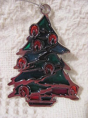 "Christmas Suncatcher Christmas Tree Ornament 3"" Tall"
