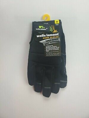 New Wells Lamont 7706 Mens Hi Dexterity Padded Reinforced Work Gloves Black