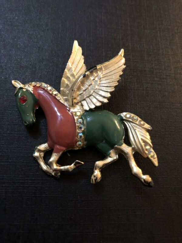 Vintage Pegasus Brooch Estate Jewelry Enamel Rhinestones