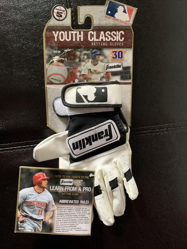 Franklin Youth Series Batting Gloves White Youth S Authentic New