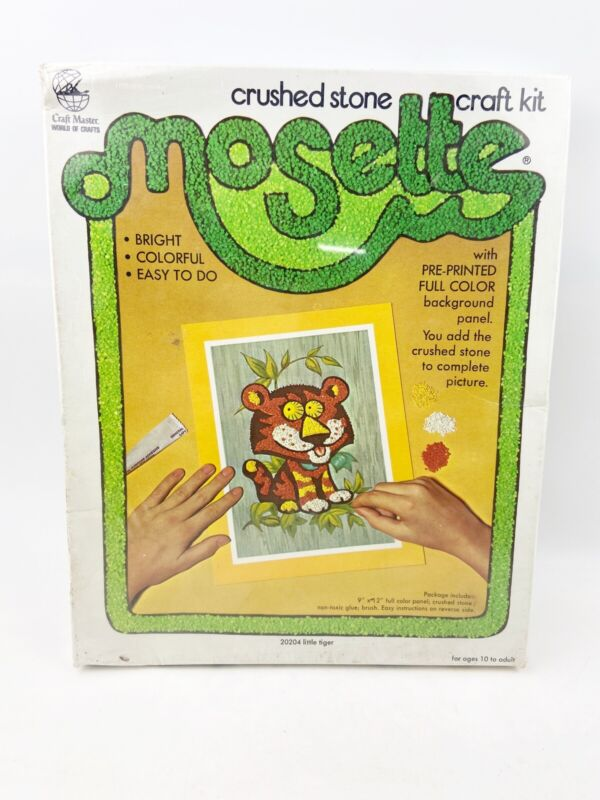 Vintage 1974 Craft Master Crushed Stone Mosette Kit LITTLE TIGER Kit NOS Sealed