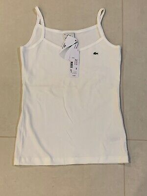 New Lacoste Women Cotton White Tank top Size 36 / Small