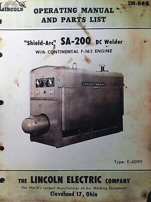 Lincoln Sa-200 Dc Welder Owner Parts Service Manual Pipeliner Gas Engine 1957