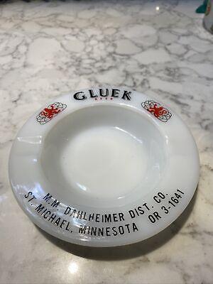 Advertising Gluek Beer Ashtray Ash Tray Glass - Vintage St. Micheal, Minnesota!