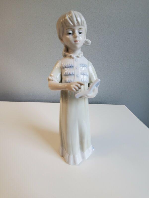 KPM Royal Porzellan Bavaria 1950 Porcelain Figurine School Girl Teaching