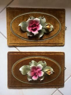 Vintage Ceramic Flower on picture frames