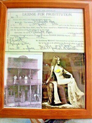 Prescott Arizona Brothel License Prostitution Framed Vintage 1892 w/Real Photo l