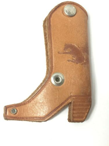 Vintage Leather Cowboy Boot Advertising Key Holder Webster City Iowa Livestock A