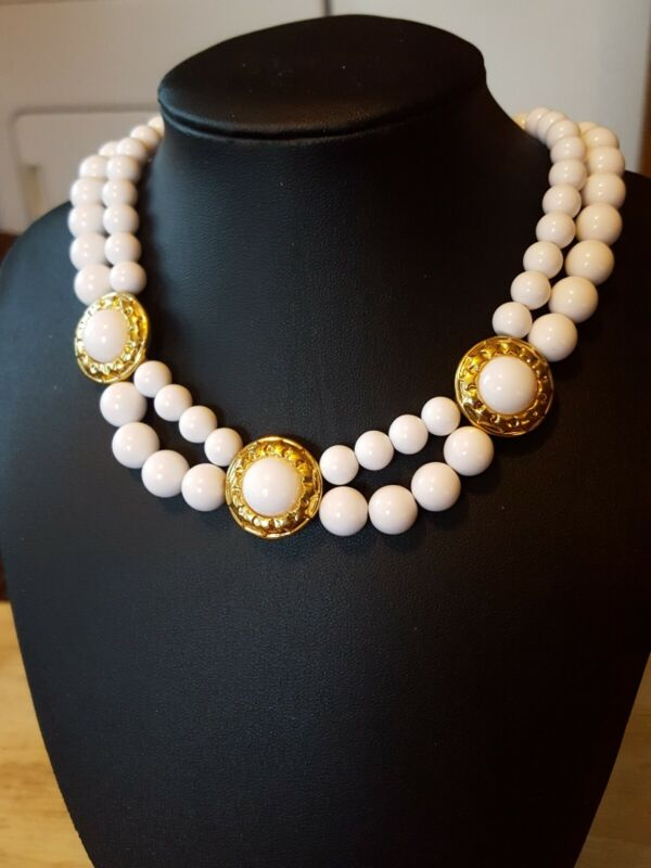 Vintage white 2 strand bead cabochon Napier necklace