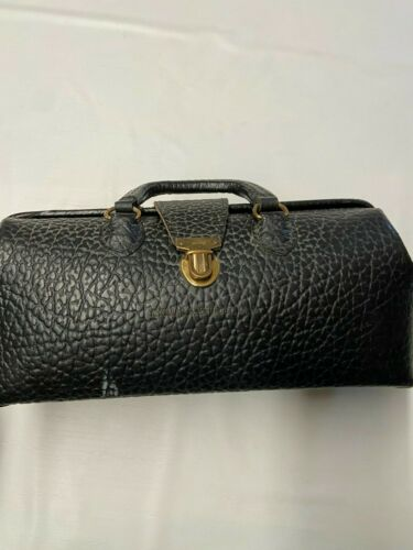LILLY Black Vintage Brass And Leather Doctors House Call Bag