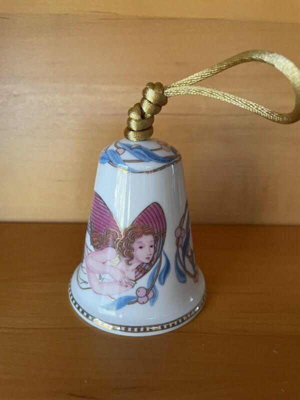 LLADRO Celestial Music 2003 ORNAMENT Porcelain Angel Bell Pink & Blue w/ Gold