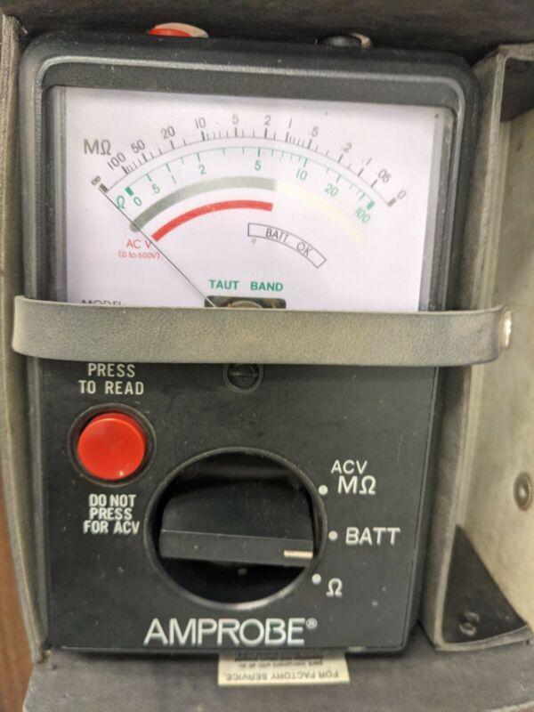Amprobe AMB-1AANALOG MEGOHMMETER INSULATION TESTER, 0-600V AC/DC Tested Working