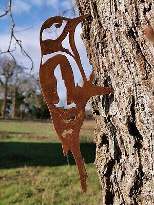 RUSTY METAL WOODPECKER SILHOUETTE GARDEN ART RUSTIC BIRD SCULPTURE GARDEN DECOR