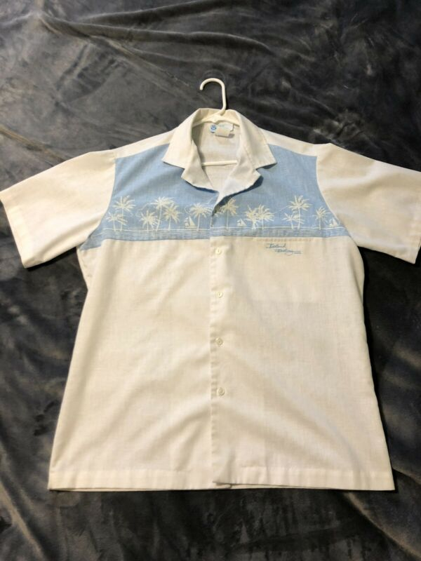 """Island Feeling"" Vintage Shirt, Hawaii White XL Palm Trees, Vintage Hawaiian"