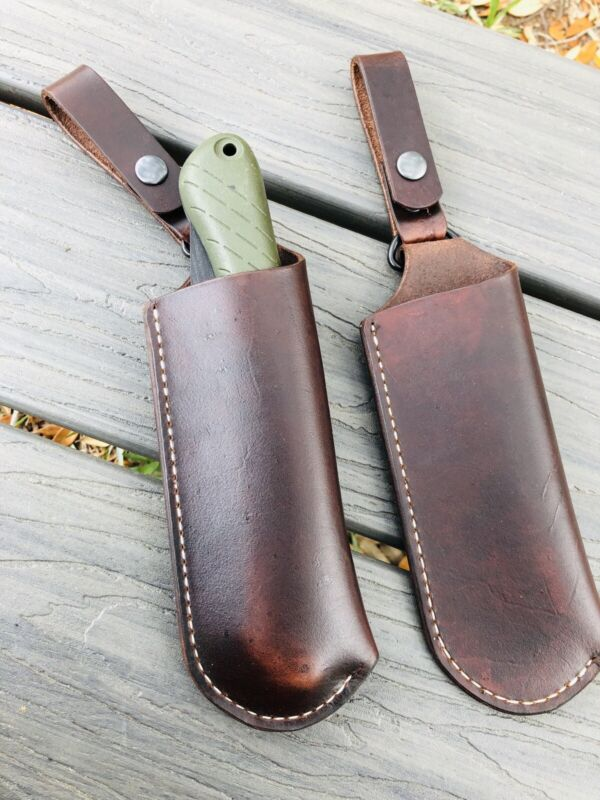 One (1) Bahco Laplander Leather Sheath With Dangler Handmade (no saw)