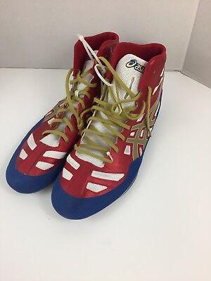 e7300d580f13c3 ASICS J3A1Y Wrestling Boot Red Blue Gold Size 14 Men s JB Elite
