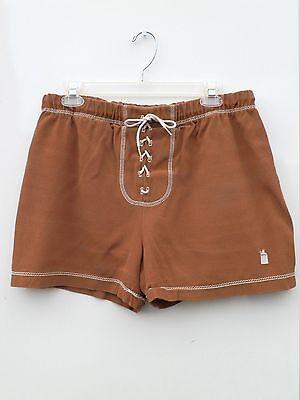 Vtg 60s 70s Brown Lace-Up MOD Moonshine Jug Cabana Shorts Swim Trunks M L 32-36