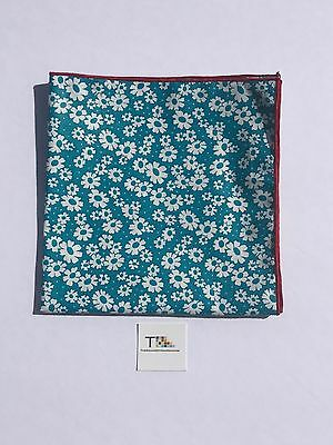 Teal Floral Pocket Square with Red Trim