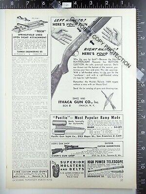 1949 Ithaca Featherlight shotgun left right handed & Sizer's Gun Shop vintage ad