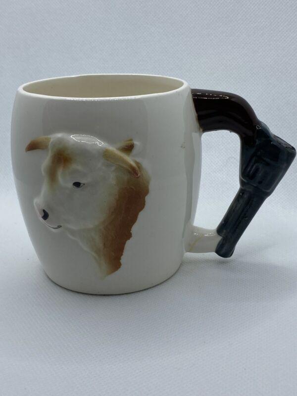 Rare Lefton Vintage Western Americana Pistol Handled Steer Cow Coffee Mug