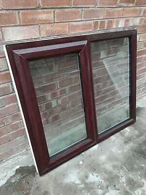 Rosewood on White uPVC window fully glazed