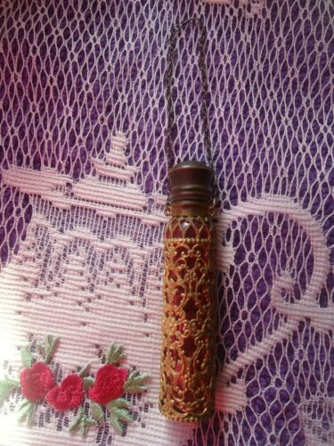 Chatelaine Cranberry Glass encased Brass Filigree Hanging Perfume Scent Bottle