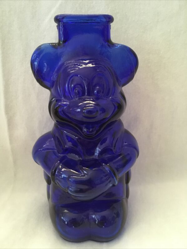 VINTAGE COBALT BLUE GLASS MICKEY MOUSE CLUB BANK Very Rare NM