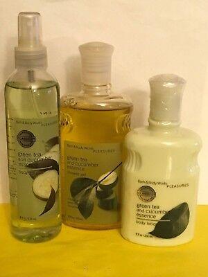Bath & Body Works Green Tea & Cucumber Lotion Shower Gel Splash Set Very Rare  Body Works Green Tea