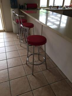 Set of 3Kitchen/Bar Stools padded Red seat Chrome surrounds