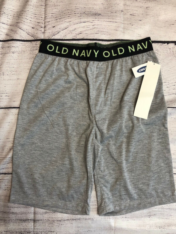 Old Navy Boys Sleep Shorts Gray w/ Black band Sz L (10-12) NWT