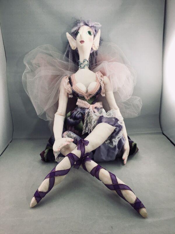 "Poseable Handmade Elf Fairy  Doll Lg 36""Mystical magical ballerina Vtg"