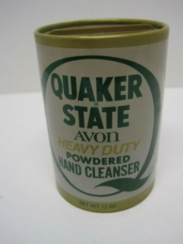 "FULL Vintage AVON/QUAKER STATE Powdered Hand Cleanser~""Looks Like an Oil Can"""
