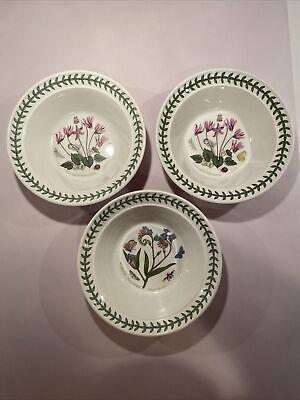"Set of 3 Portmeirion Botanic Garden 6 1/2"" Rimmed Cereal/Oatmeal Bowls"