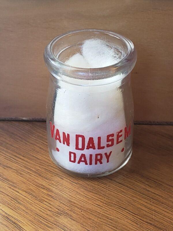 """Van Dalsem Dairy Creamer 3/4 Oz Round Milk Bottle 1 7/8"""""""