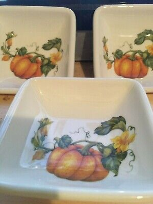 Effetti D'Arte Ceramic Dipping Bowls White With Pumpkin Decor Set Of 3 Italy