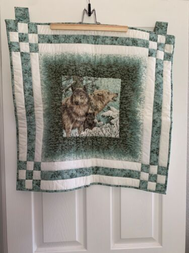 "Homemade Quilted Wall Art Hanging Winter Wolf Family 26""x 25.5"" Great for cabin!"