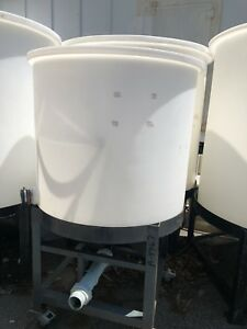 250 Gallon Polypropylene Cone Bottom Tank with Steel Stand