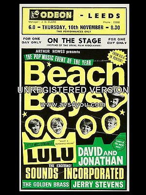 "The Beach Boys / Lulu Leeds Odeon 16"" x 12"" Photo Repro Concert Poster"