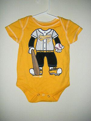 MLB Pittsburgh Pirates Bucs Baseball Infant Baby Body Snap Suit 3/6 Month Yellow Baseball Infant Bodysuit