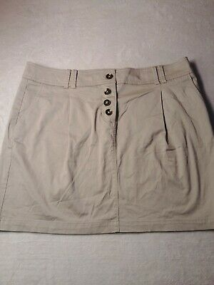 NWT New York & Co Khaki Straight Pleated Mini Skirt Women