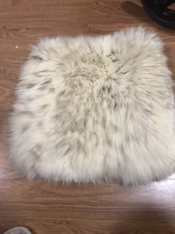 VINTAGE LARGE FUR MUFF HAND WARMER W/ SATIN LINING