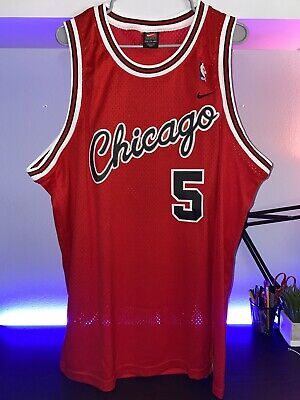 MENS XXL NIKE SEWN NBA CHICAGO BULLS JALEN ROSE RED HOME JERSEY-LNWOT