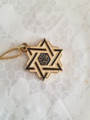 Israel Star of David Jerusalem hand crafted with 14k GOLD 24in necklace