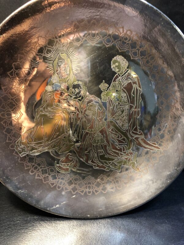 Reed & Barton 1973 Damascene Silverplate Limited Edition Christmas Plate Of 7500